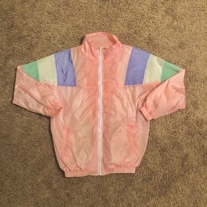 Retro style wind breaker zip up jacket